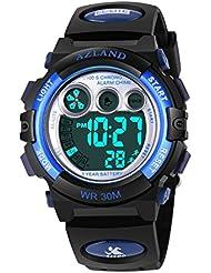 AZLAND Boys Girls Watches Digital Sports Watch Features Night-Light,Swim,Frozen,Waterproof Kids Watch, Blue