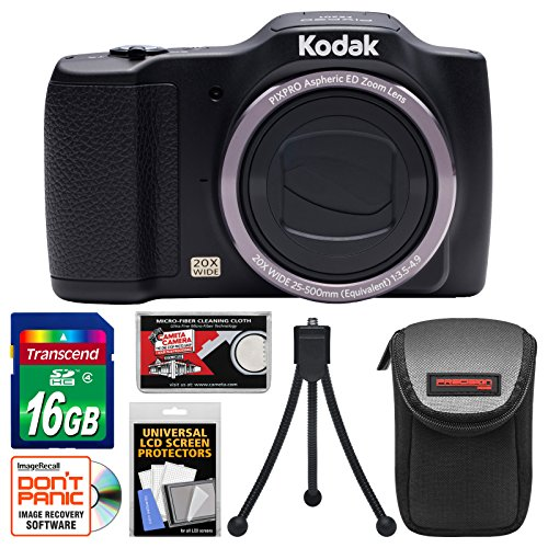 Kodak PixPro Friendly Zoom FZ201 Digital Camera with 16GB Card + Case + Flex Tripod + Kit