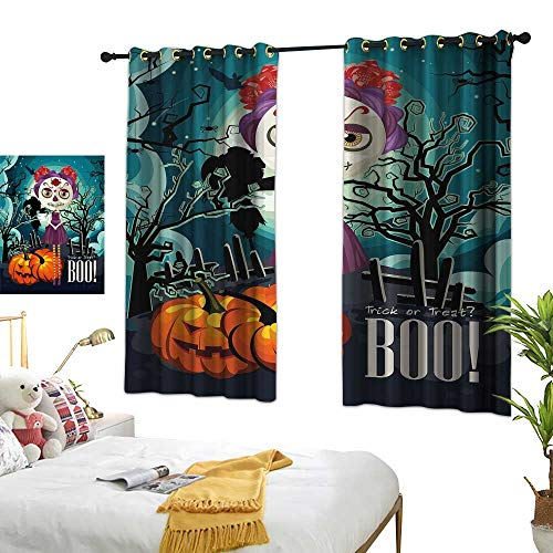 RuppertTextile Halloween Insulated Sunshade Curtain Cartoon Girl with Sugar Skull Makeup Retro Seasonal Artwork Swirled Trees Boo 55