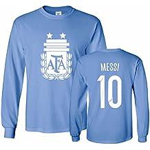 Tcamp Argentina Soccer Shirt Lionel Messi #10 Jersey Men's Long Sleeve T-shirt