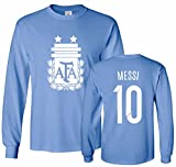 Tcamp Argentina Soccer Shirt Lionel Messi #10 Jersey Youth Long Sleeve T-shirt