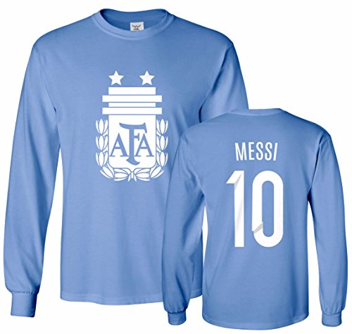 Tcamp Argentina Soccer Shirt Lionel Messi #10 Jersey Men's Long Sleeve T-Shirt Carolina Blue