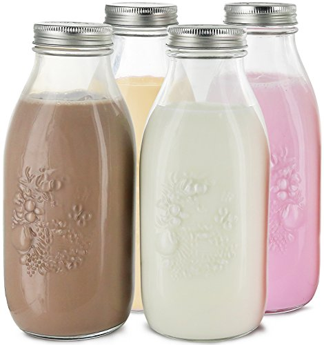 Estilo Dairy Reusable Glass Milk Bottles with Metal Lids (Set of 4), 33.8 oz, Clear ()
