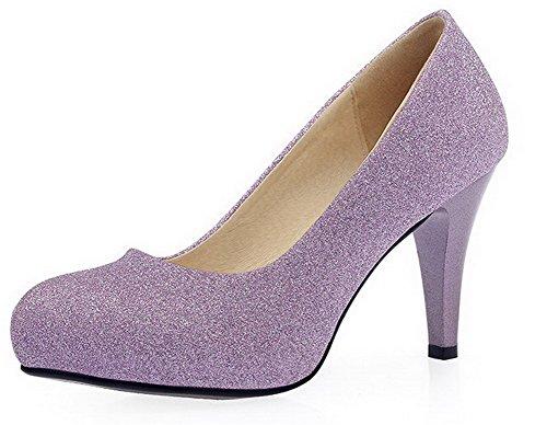 VogueZone009 Damen Lackleder Rund Zehe Stiletto Ziehen auf Rein Pumps Schuhe Lila