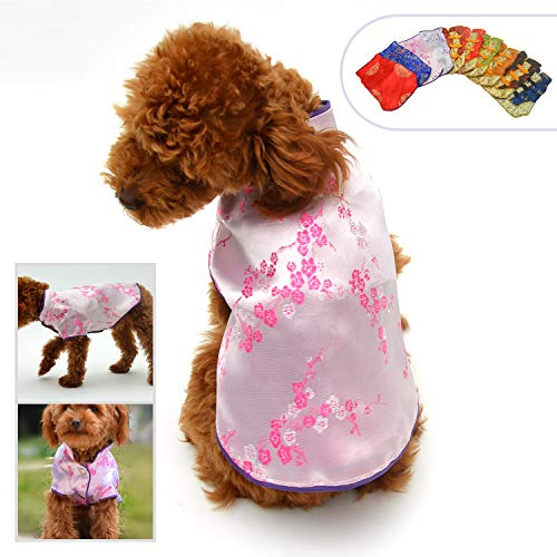 Lovelonglong 2019 Dog Costumes Cheongsam Qipao Dresses for Small Dogs Pet Tang Dynasty Costume for Bichons Frises XL -