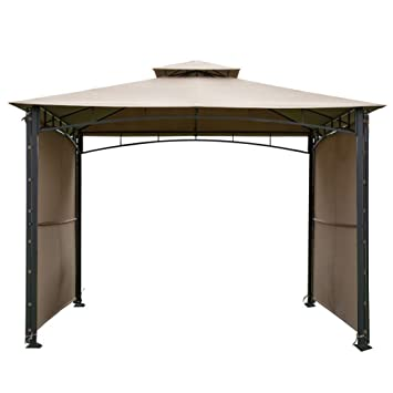 Abba Patio 10x10 Ft Outdoor Art Steel Backyard Shelter Patio Gazebo With 2  Privacy Panels,