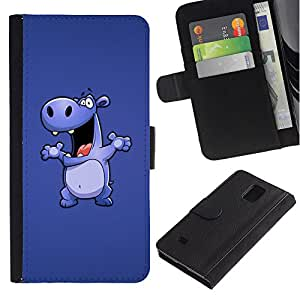 Billetera de Cuero Caso Titular de la tarjeta Carcasa Funda para Samsung Galaxy Note 4 SM-N910 / Hippo Drawing Cartoon Big Animal Dance / STRONG