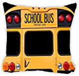 Rikki Knight Back of A Yellow School Bus Microfiber Throw Décor Pillow Cushion 16'' Square Double Sided Print (Insert NOT Included)