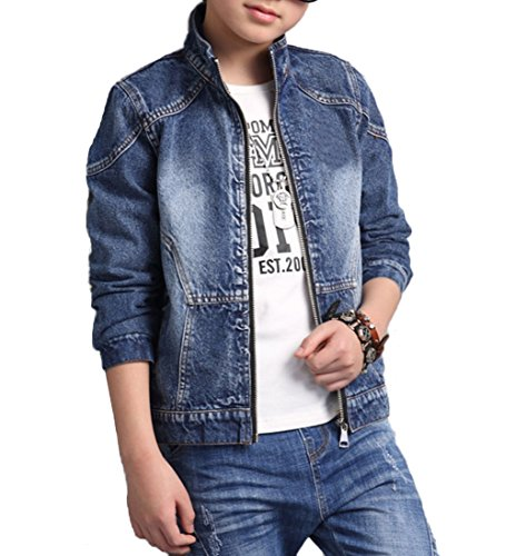 Boys Quality Classic Distressed Denim Trucker Jacket (8, Style B)