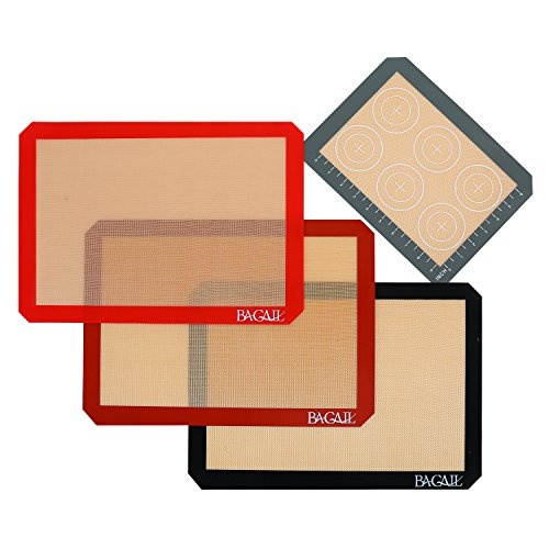 4 Set Silicone Baking Mat – 3 Thick Half Sheet Liners(11 5/8' x 16 1/2') and 1 Quarter Sheet Liners (8 1/2' x 11 1/2')  - Professional Grade Non Stick Silicon Liner for Bake Pans & Rolling