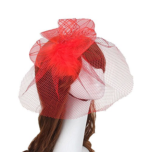 [Fascinator Hair Clip Head Hoop Feather Rose Flower Derby Cocktail Party Wedding Women Red 3] (1920s Flapper Hairstyles)