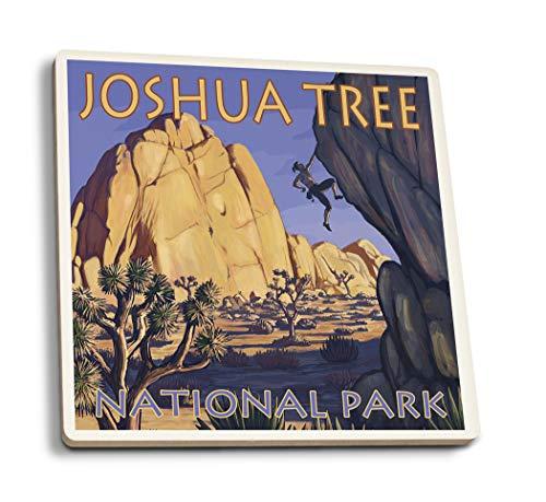 Lantern Press Joshua Tree National Park, California - Boulder Climber (Set of 4 Ceramic Coasters - Cork-Backed, Absorbent)
