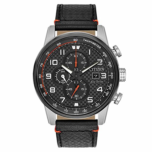 (Citizen Men's Eco-Drive Stainless Steel Japanese-Quartz Watch with Leather Calfskin Strap, Black (Model: CA0681-03E))