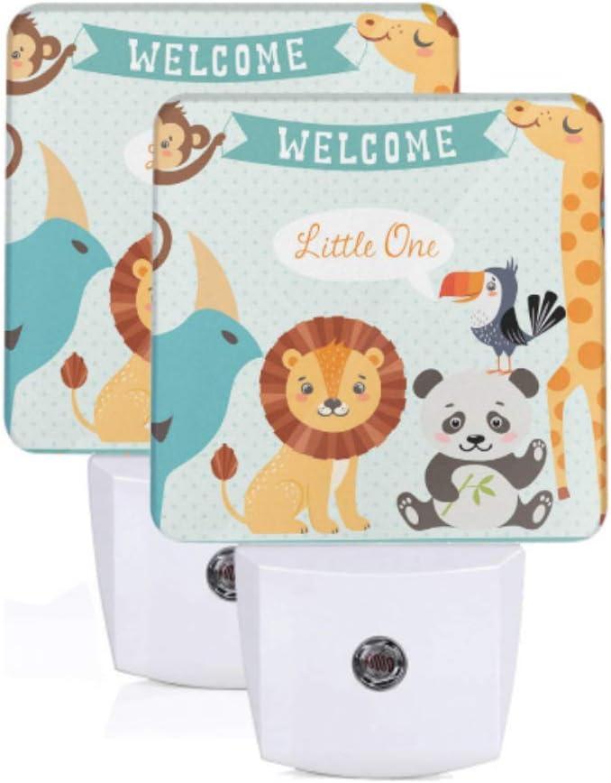 2 Pack Plug Led Night Light Baby Shower Design Cute Jungle Animals Auto Lámpara de sensor de anochecer a amanecer Luz de noche para niñas para pasillo Dormitorio Escaleras Corredor Decoració: Amazon.es: