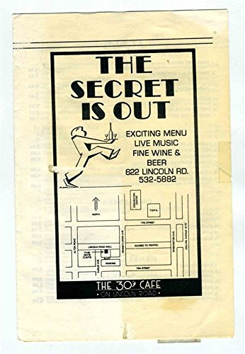 The Secret Is Out Menu Lincoln Road Miami Beach Florida The 30's Cafe (Lincoln Beach, Florida)