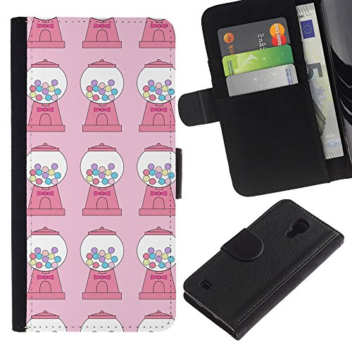 For SAMSUNG Galaxy S4 IV / i9500 / i9515 / i9505G / SGH-i337,S-type® Candy Bubble Gum Machine Pink Pattern - Drawing PU Leather Wallet Style Pouch Protective Skin Case -