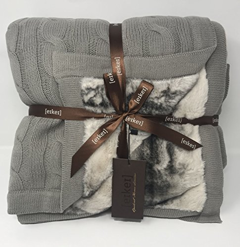 Cable Knit Sherpa Oversized Throw Reversible Blanket Faux Sheepskin Lined Cozy Cotton Blend Sweater Knitted Afghan in Grey White or Turquoise Blue (Ash Chinchilla)