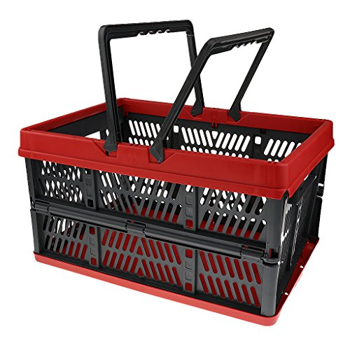 Lightweight Outdoor Picnic Folding Storage Basket / Collapsible Trunk Organizer Box / Home Organization Container / Shopping Tote Basket - Red and Black, one size (Collapsible Multi Use Basket)