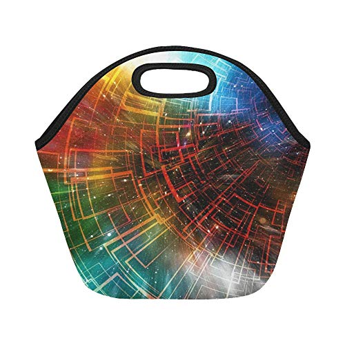 Insulated Neoprene Lunch Bag Block Chain Data Records System Mechanism 3614403 Large Size Reusable Thermal Thick Lunch Tote Bags For Lunch Boxes For Outdoors,work, Office, ()
