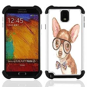 /Skull Market/ - Dog Cute Chihuahua For Samsung Galaxy Note3 N9000 N9008V N9009 - 3in1 h????brido prueba de choques de impacto resistente goma Combo pesada cubierta de la caja protec -
