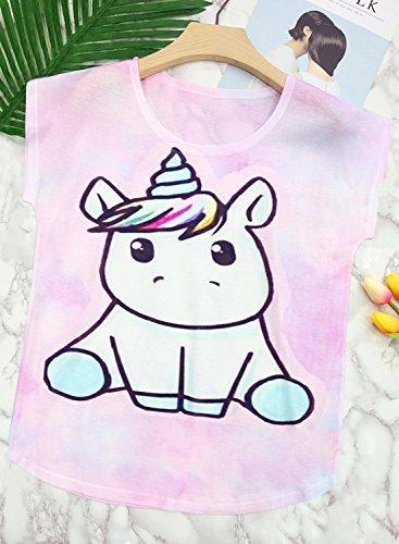 Futurino Women's Summer Colorful Bow Tie Unicorn Print Short Sleeve T-Shirt Tops (XL, Baby Unicorn) by Futurino (Image #1)