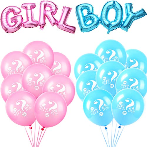 meekoo 18 Pieces Gender Reveal Balloons Boy or Girl Letter Balloon Latex Balloons Foil Balloons for Baby Shower Themed Party -