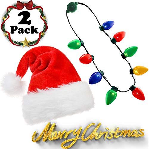 Plush Christmas Santa Hat,Light Up Christmas Bulb Necklace