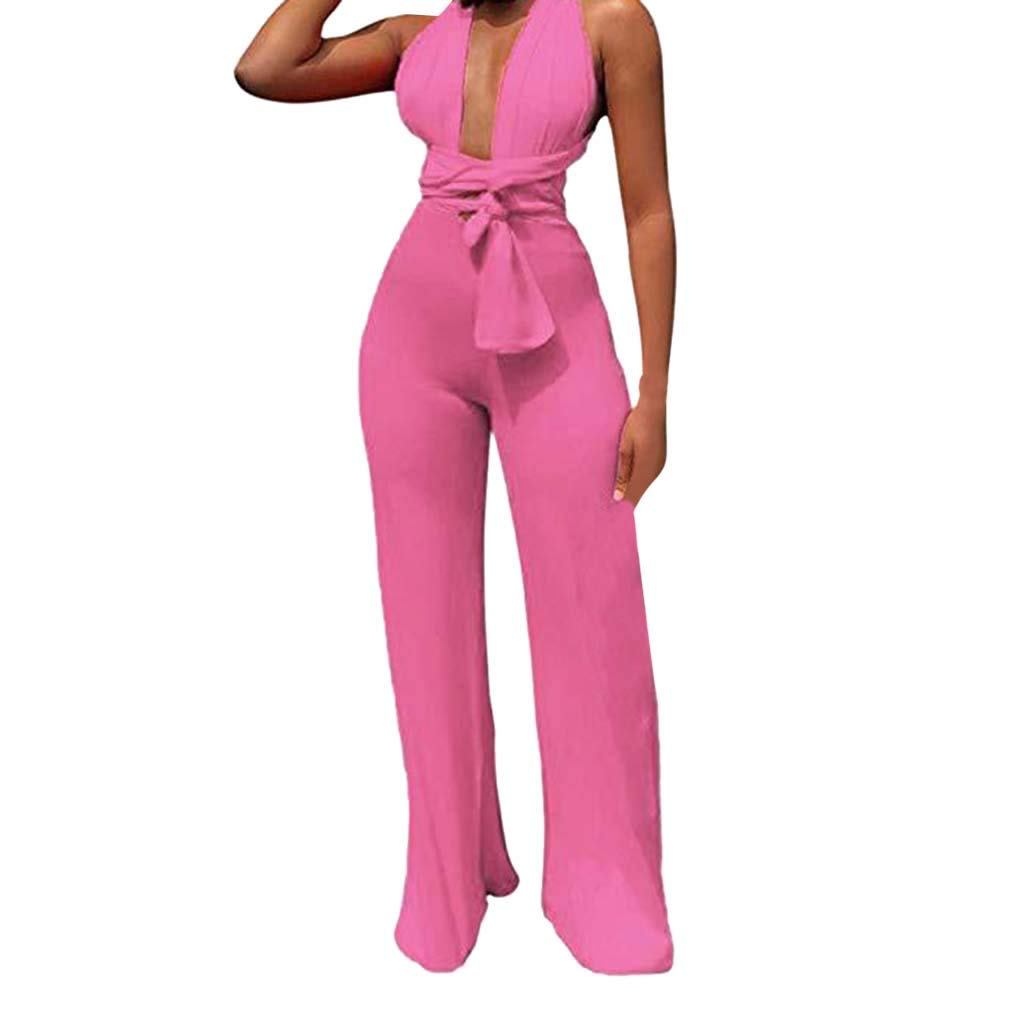Ymibull Women Sexy Strap Deep V-Neck Off Shoulder Backless Long Jumpsuits Party Trousers Pants Playsuit (Pink, XL)