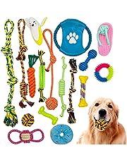 Yuchen Hundleksak set 17 st hundkoppel interaktiv husdjursrepleksak tillverkad av naturlig bomull giftfri och luktfri Robust bättre för små och medelstora stora hundar leksaker