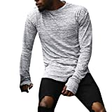 Shirts For Men,HOT SALE !! Farjing Men Casual Solid Color Long Sleeve Hollow Out cuff O-Neck Shirt Top Blouse(L,Gray)