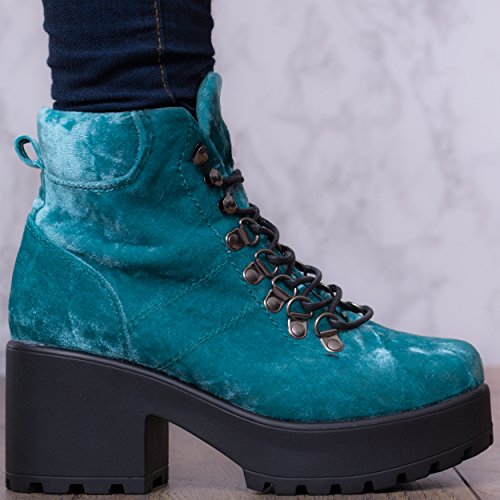 Spylovebuy Shotgun 5 Femmes Lacet à Talon Bloc Bottines Chaussures SHOTGUN 3 - Bleu - Simili Velours cvn9JU