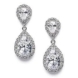 Clear Rhinestone Teardrop Dangle Earrings