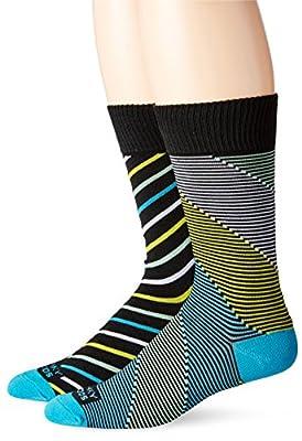 Funky Socks Men's 2 pack Colorful Patterned Casual Crew Socks (2 pairs)