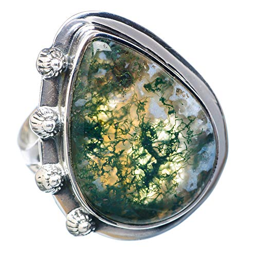 Green Moss Agate Ring Size 8.5 (925 Sterling Silver) - Handmade Boho Vintage Jewelry RING921473