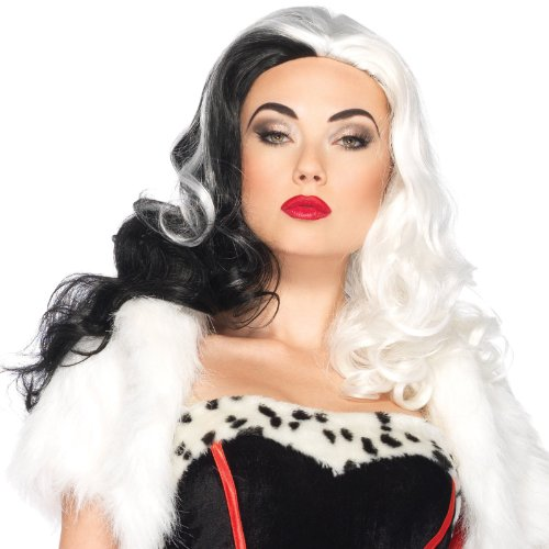 Leg Avenue Costumes Disney Cruella Wig, Black/White, One Size (Adult Cruella De Vil Costume)