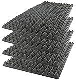 Foamily Acoustic Foam Sound Absorption Pyramid Studio Treatment Wall Panel, 48' X 24' X 2' (4 Pack)