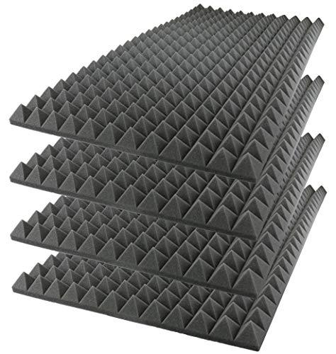 "Foamily Acoustic Foam Sound Absorption Pyramid Studio Treatment Wall Panel, 48"" X 24"" X 2"" (4 Pack)"