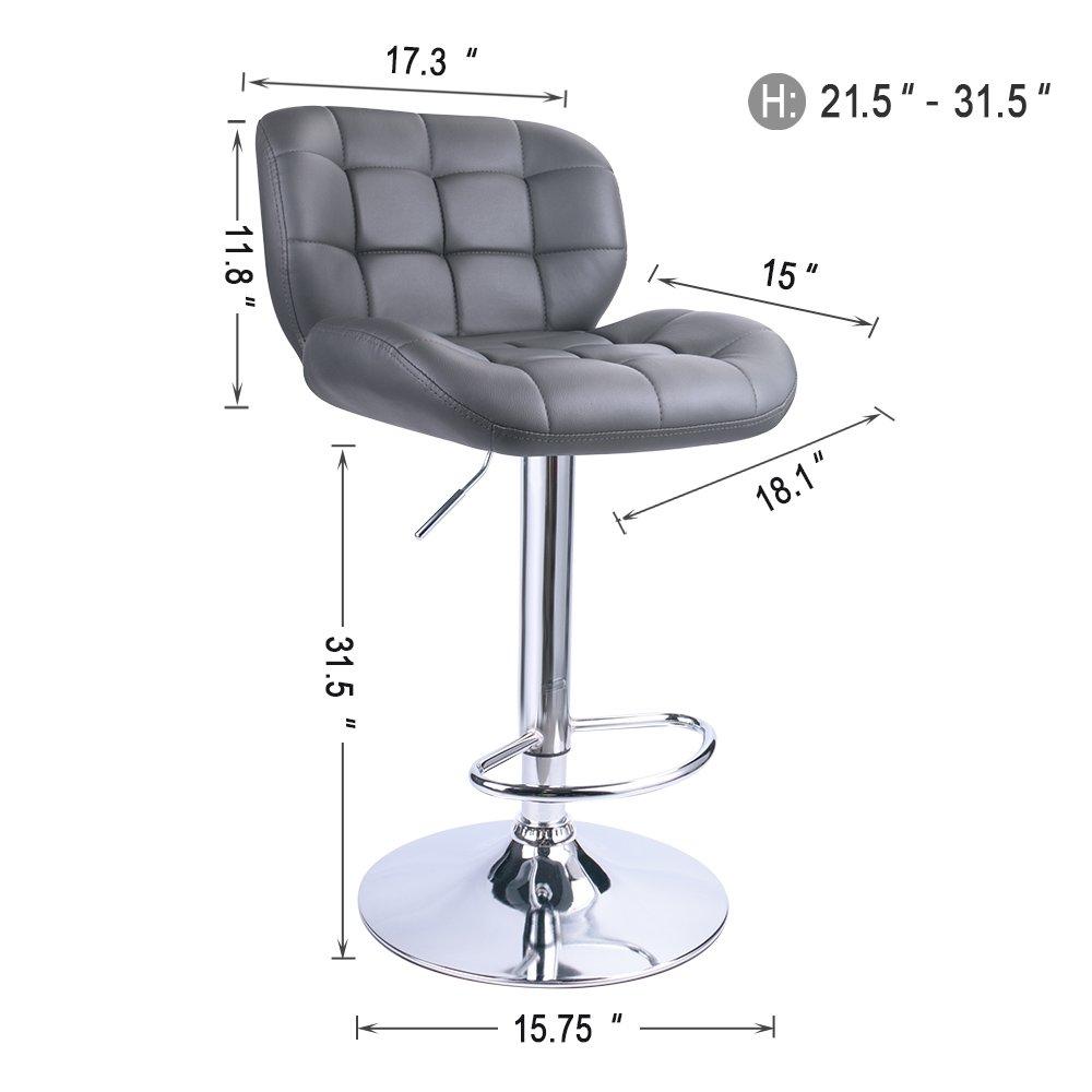 Leopard Deluxe Pitstop Adjustable bar stools,Set of 2 Grey