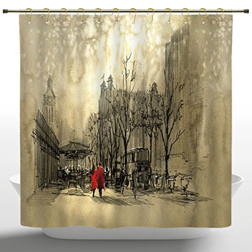 Street Scene Decor (Stylish Shower Curtain by iPrint,Apartment Decor,Love Couple Walking in City Streets in Rainy Day Romance Dramatic Urban Scene,Sepia,Polyester Fabric Kids Bathroom Curtain Designs)
