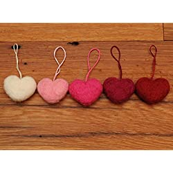 Needle Felted Heart Ornaments, Red Pink White Wool, Valentines Set of 5