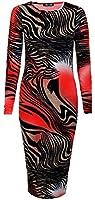 ForeverWomens Long Sleeves Animal Zebra Print Stretchy Midi Dress