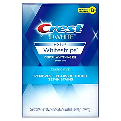 Crest 3D White Whitestrips Classic Vivid Teeth Whitening Kit, 10 Treatments