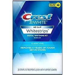 Crest 3D White Classic Vivid Whitestrips Dental Teeth Whitening Strips Kit, 10 Treatments