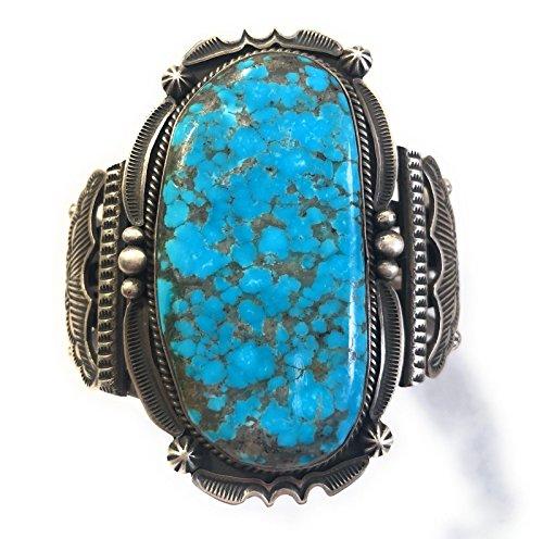 Bracelet Cuff Signed (Nizhoni Traders LLC Vintage Navajo Kingman Web Turquoise And Sterling Silver Cuff Bracelet Signed)