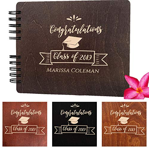 (Graduation Wood Guest Book Made in USA (Customize Personalize Wood Engraving) Rustic Grad Gifts Photo Album Party Supplies Decorations Polaroid Photo Guest Book Congratulation Class of)