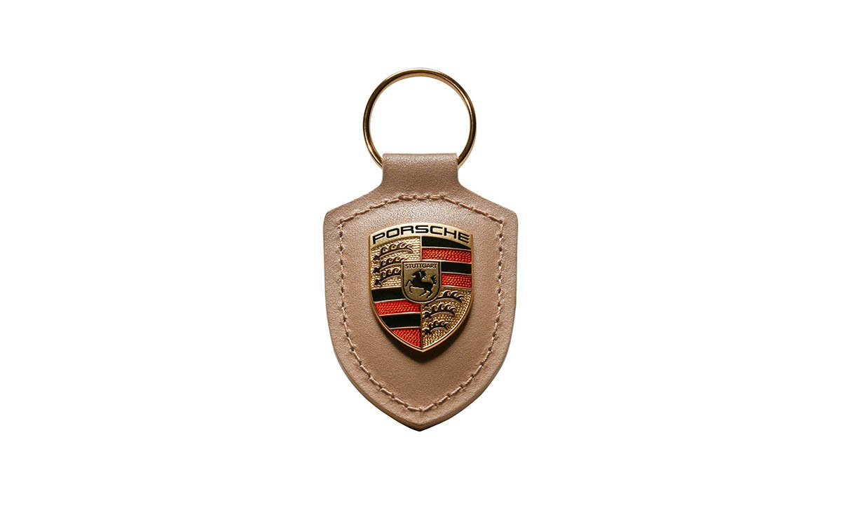 Original Porsche Crest Llavero de Cuero, Beige, WAP0500980H