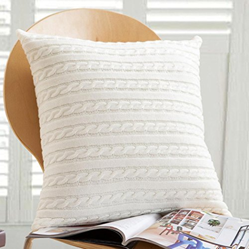 Highpot Fashion Knitting Throw Pillow Cases Knitted Decorative Cafe Sofa Cushion Cover Home Decor (White)