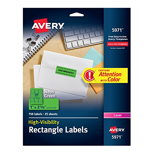 Avery High Visibility 1 x 2 5/8 Inch Fluorescent Green Labels 750 Pack (5971) ()