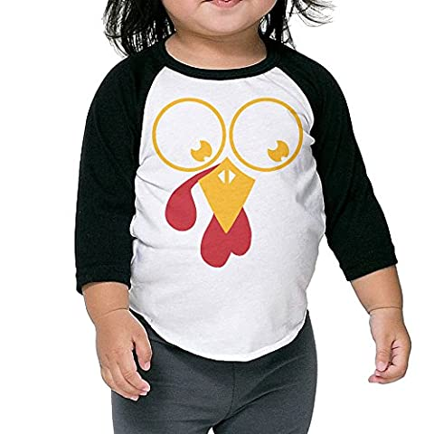 WQ UNIQUE Boys Turkey Face Thanksgiving Basic 3/4 And Long Sleeve Sleeve Raglan Tee Sports Uniforms - Personalized Free Toddler Tee
