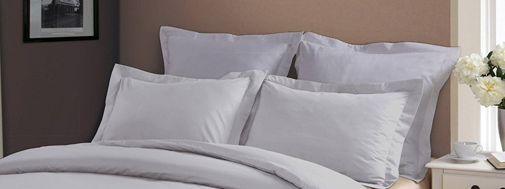Pillow Shams Set of 2 - Luxury 500 Thread Count 100% Egyptian Cotton Cushion Cover Euro Size Decorative Tailored Poplin European Pillow Sham (Silver Grey Solid, European/Square (26 x 26 Inch))